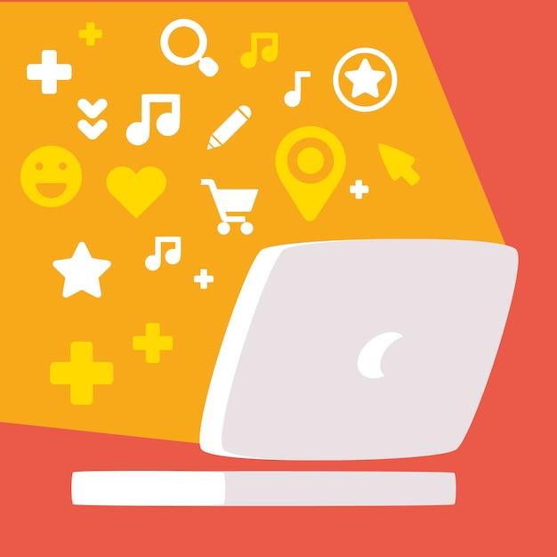 Laptop com conjunto de ícones de mídia social Vetor Premium