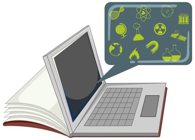 Laptop com ícone de educação isolado Vetor grátis