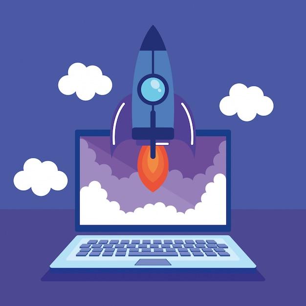 Laptop com ícones de marketing de mídia social Vetor grátis