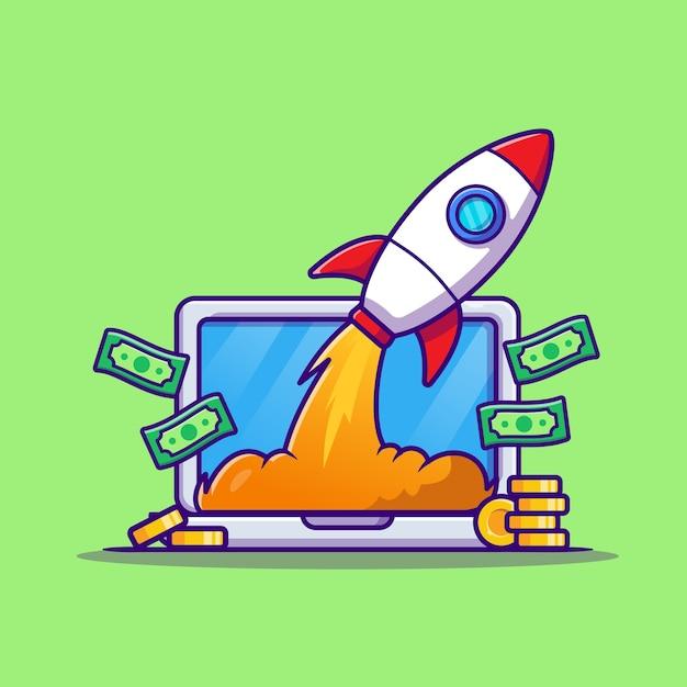 Laptop com ilustração do ícone do vetor dos desenhos animados do dinheiro e do foguete. ícone de negócios de tecnologia Vetor grátis