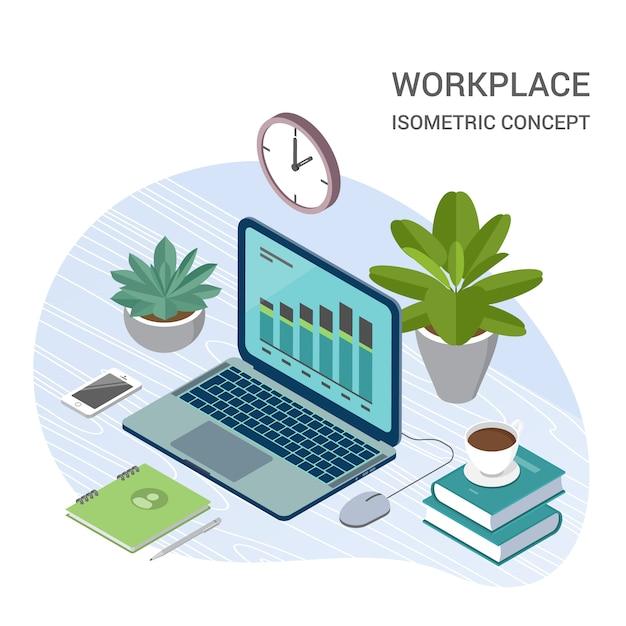 Laptop com ilustração isométrica de elementos de escritório Vetor Premium