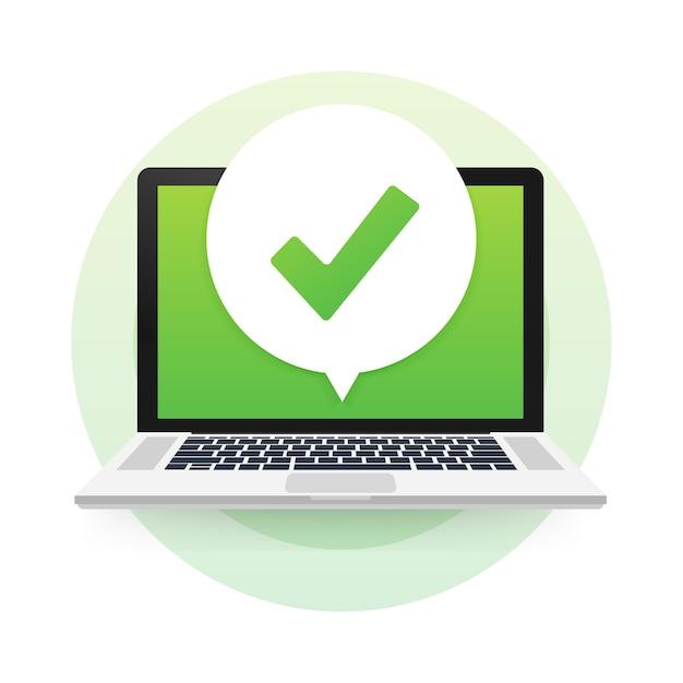 Laptop com marca de seleção ou notificação de carrapato na bolha. escolha aprovada. aceitar ou aprovar marca de seleção Vetor Premium