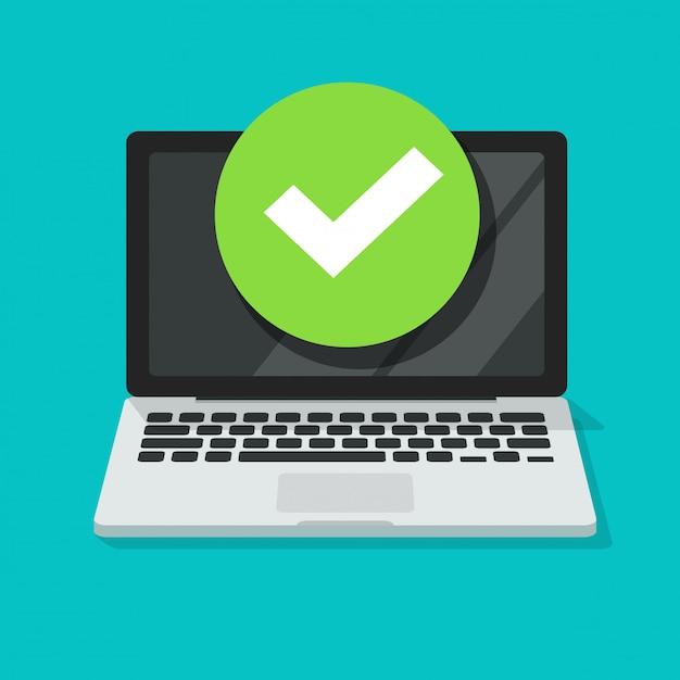 Laptop com marca de seleção ou notificação de tique, desenho do pc com escolha aprovada, ideia da tarefa realizada, atualizado ou download concluído, aceitar ou aprovar corte da marca de seleção Vetor Premium