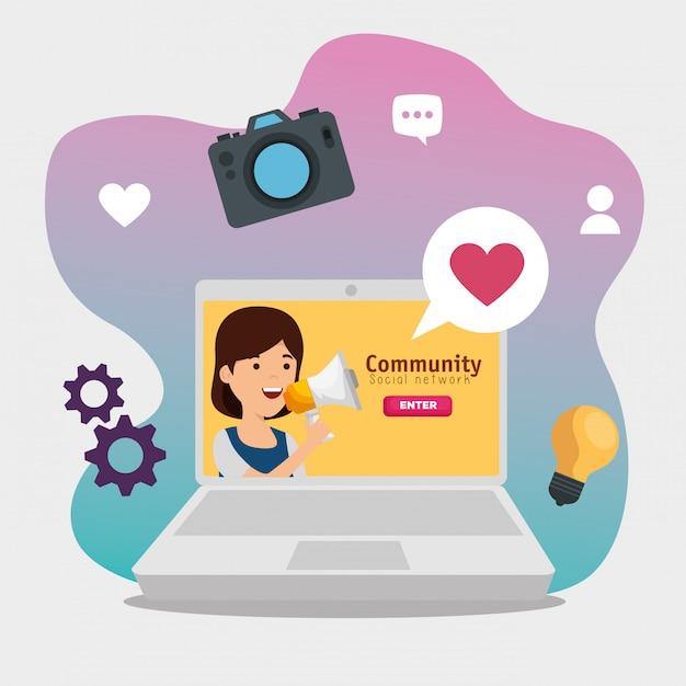 Laptop com mensagem de perfil social de garota Vetor grátis