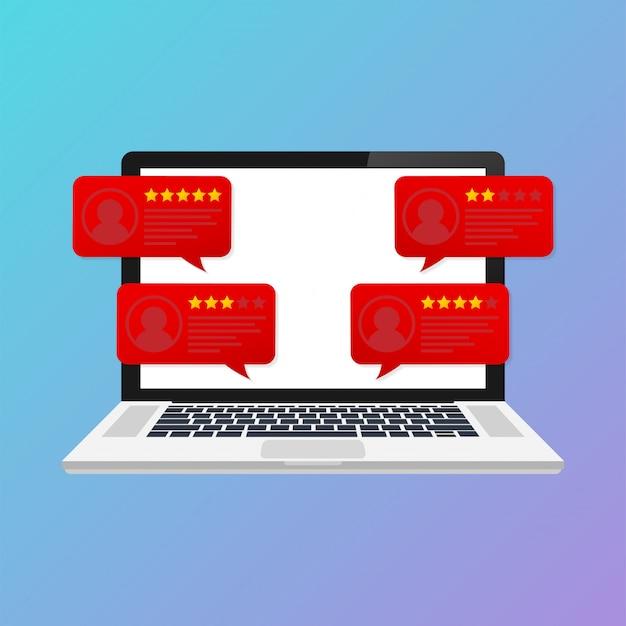 Laptop com mensagens de avaliação de revisão do cliente. exibição do desktop pc e opiniões on-line ou depoimentos de clientes Vetor Premium