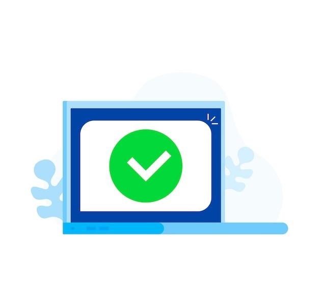 Laptop com notificação de marca de seleção ou carrapato na bolha Vetor Premium