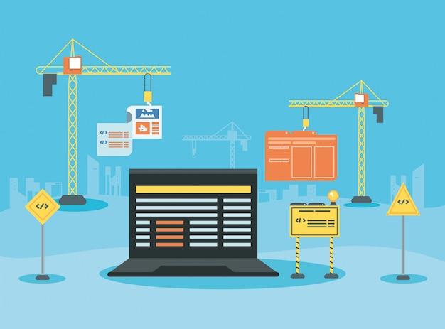 Laptop com página da web em construção Vetor Premium