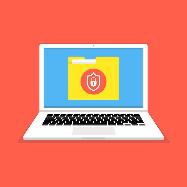 Laptop com proteção de arquivos na tela Vetor Premium