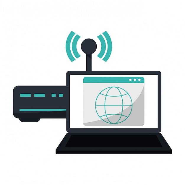 Laptop, com, wifi, roteador, internet, símbolo Vetor Premium