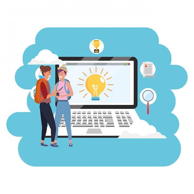 Laptop de estudante milenar de educação on-line Vetor Premium
