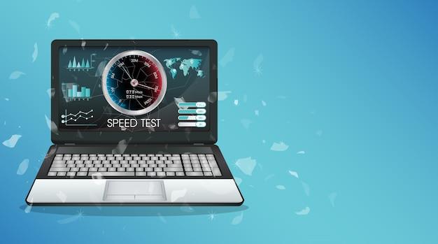 Laptop de exibição quebrado usando o teste de velocidade de internet Vetor Premium