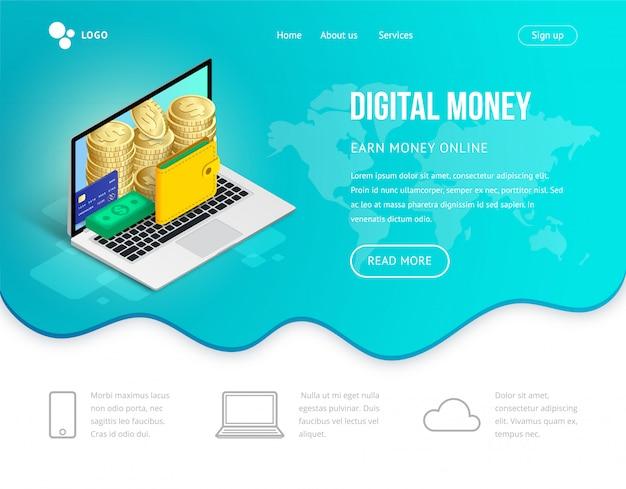 Laptop isométrico de conceito de site de dinheiro digital Vetor Premium