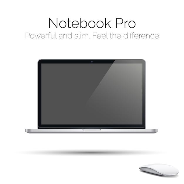 Laptop lustroso altamente detalhado moderno Vetor Premium