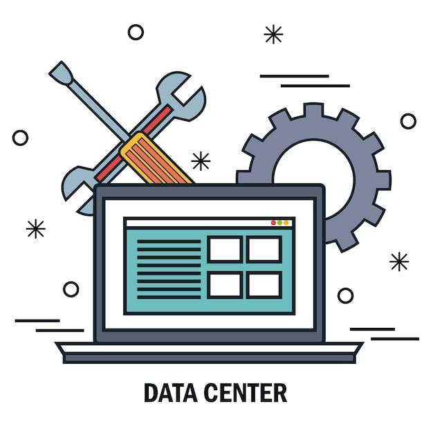 Laptop suporte servidor centro de dados de trabalho isolado Vetor Premium