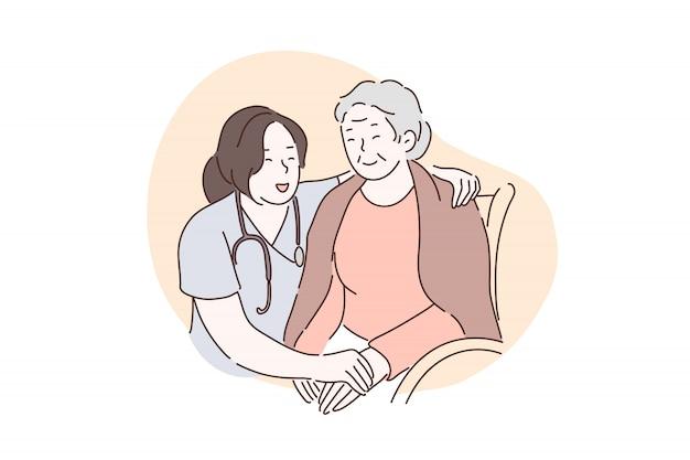 Lar de idosos, hospital, conceito de cuidados paliativos. Vetor Premium