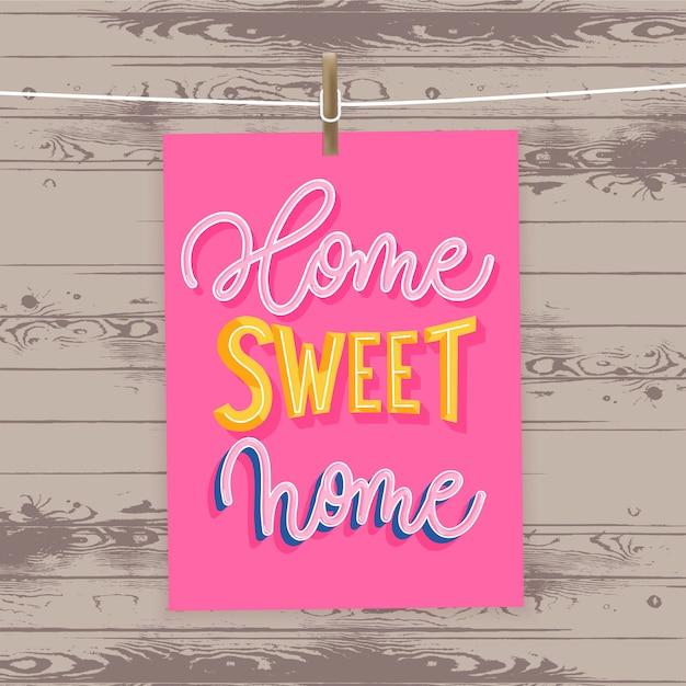 Lar doce lar - cartaz moderno letras. Vetor Premium
