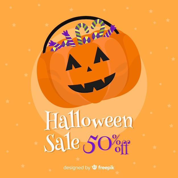 Laranja apartamento halloween venda Vetor grátis