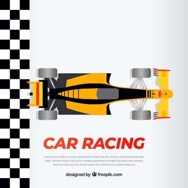 Laranja e preto carro de corrida f1 cruza a linha de chegada Vetor grátis