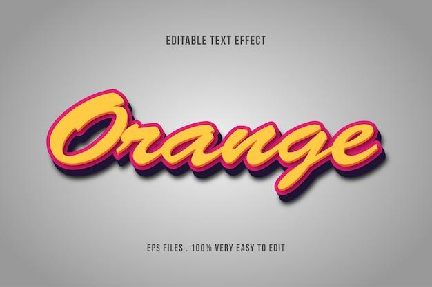 Laranja - efeito de texto premium, texto editável Vetor Premium