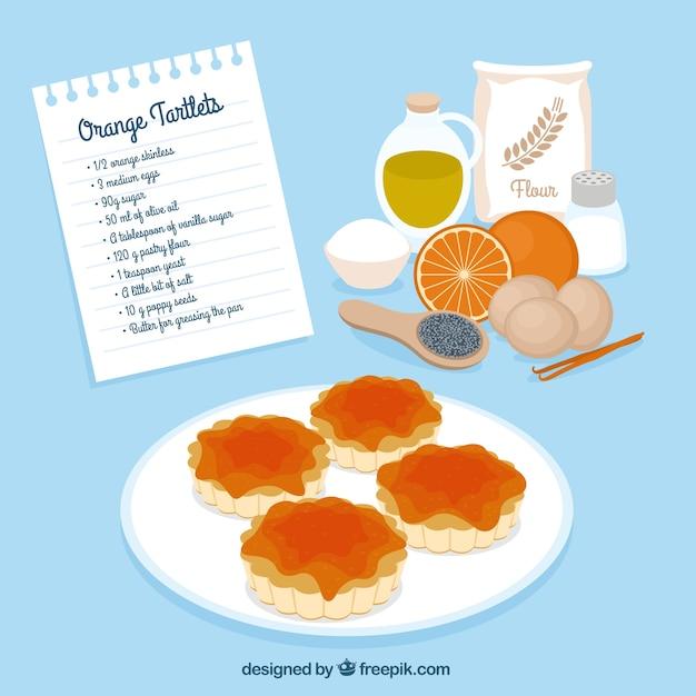 Laranja tortinhas receita Vetor grátis