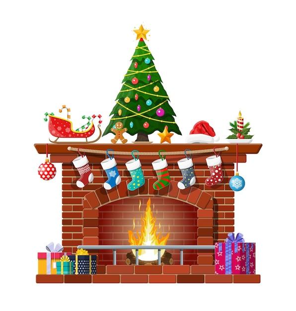 Lareira clássica de tijolo vermelho com meias, árvore de natal, presentes de bolas de vela e trenó. decoração de feliz ano novo. feliz natal. ano novo e celebração de natal. Vetor Premium