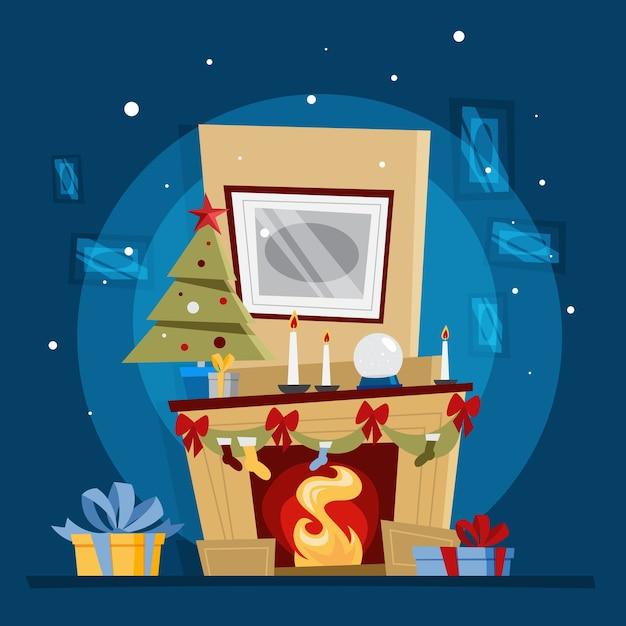 Lareira com decoração de natal e um presente nela. elemento interior aconchegante do quarto em casa. quente com a chama. ilustração Vetor Premium