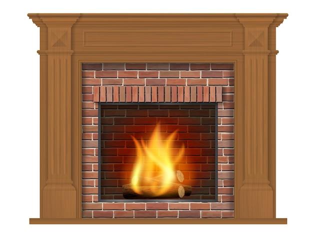 Lareira de madeira clássica com bordadura de madeira. elemento decorativo para design da sala de estar. Vetor Premium