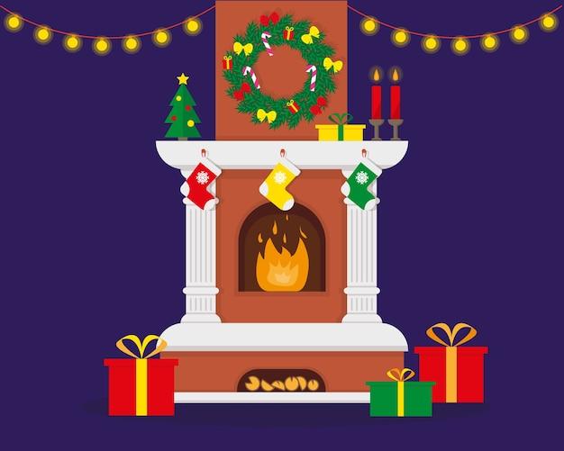 Lareira de natal com chama decorada para o natal e ano novo Vetor Premium