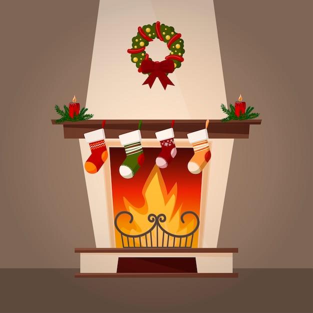 Lareira e decorações de natal. Vetor Premium