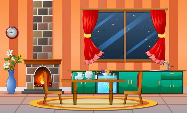 Lareira sala de estar casa da família mobiliário interior Vetor Premium