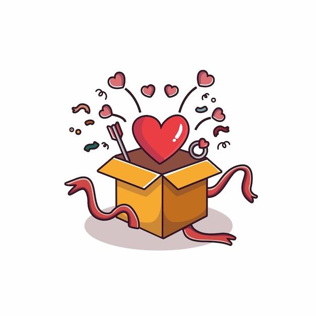 Lareira voando da caixa de presente do dia dos namorados Vetor Premium