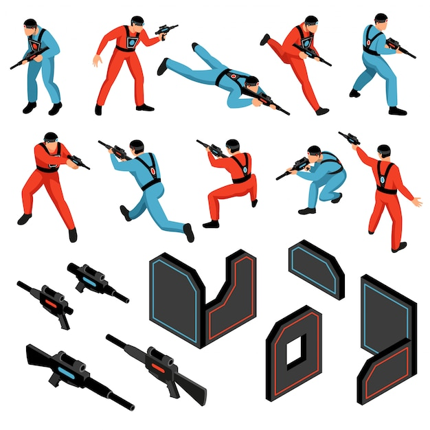Laser tag jogo munição engrenagem infravermelho alvos sensíveis coletes armas jogadores isométrica ícones conjunto ilustração vetorial isolado Vetor grátis