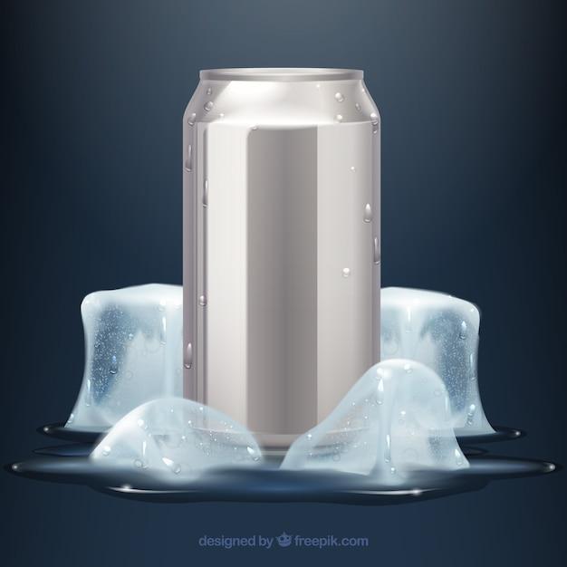 Lata de bebida gelada e refrescante Vetor grátis