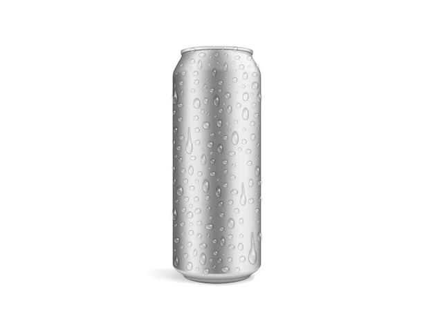 Lata de cerveja com gotas isoladas Vetor Premium