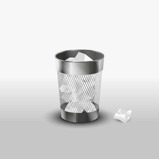 Lata de lixo de aço com o ícone de vetor realista de lixo de papel Vetor Premium