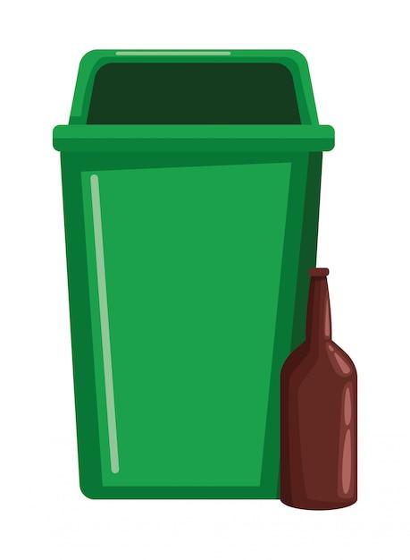 Lata de lixo e garrafa de vidro Vetor Premium