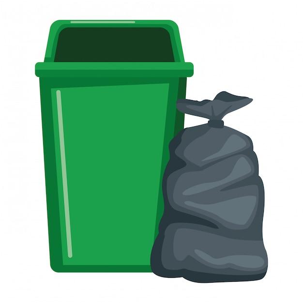 Lata de lixo e saco ícone Vetor Premium