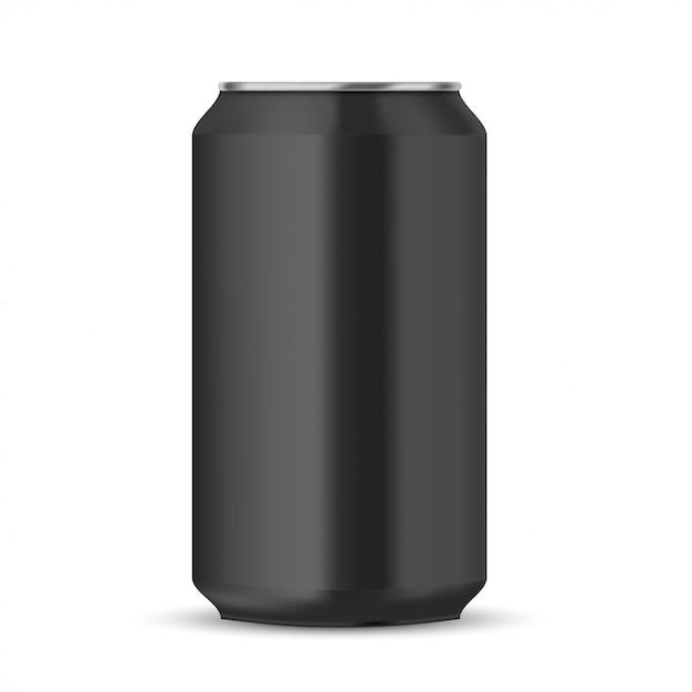 Lata de refrigerante preta Vetor Premium