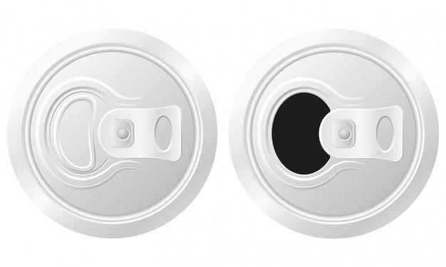 Lata fechada e aberta de ilustração vetorial de cerveja Vetor Premium