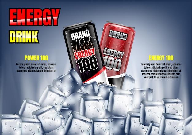 Latas de bebida energética com cubos de gelo e modelo Vetor Premium