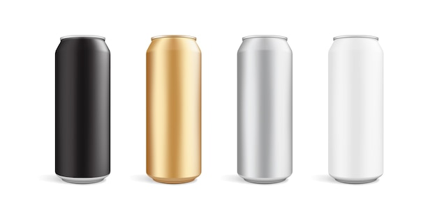 Latas de cores diferentes isoladas em fundo branco Vetor Premium
