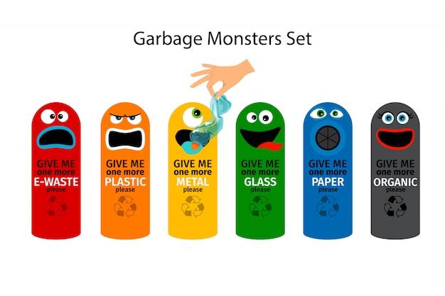Latas de lixo para crianças com caras de monstro dos desenhos animados Vetor Premium