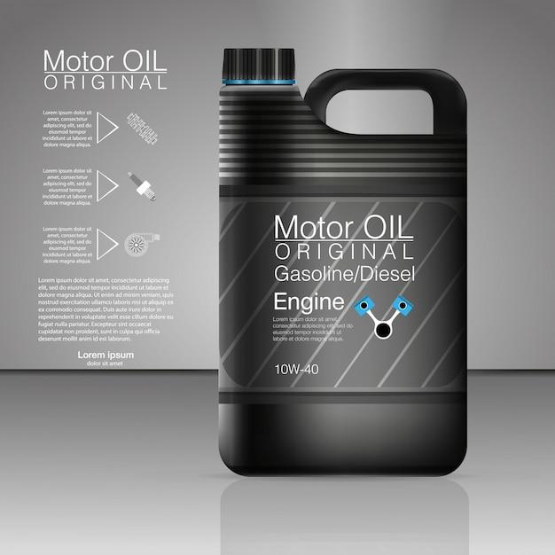Latas de plástico para óleo de motor e fluidos técnicos. vasilha óleo garrafa motor, fundo de óleo, ilustração. óleo de motor de garrafa preta. Vetor Premium