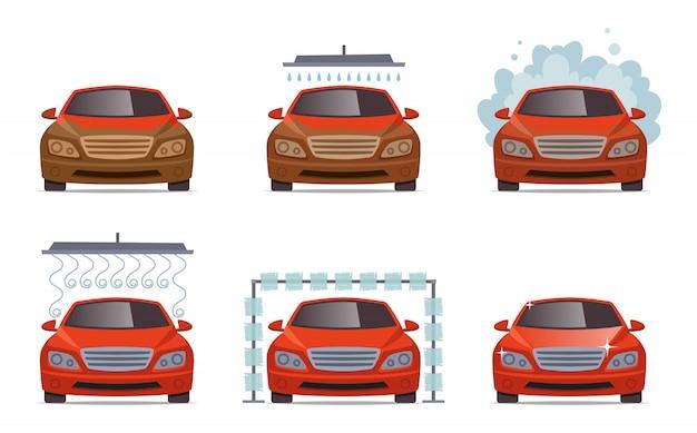 Lava-jato. conjunto de coleta de serviço de lavagem de água de automóvel de transporte Vetor Premium