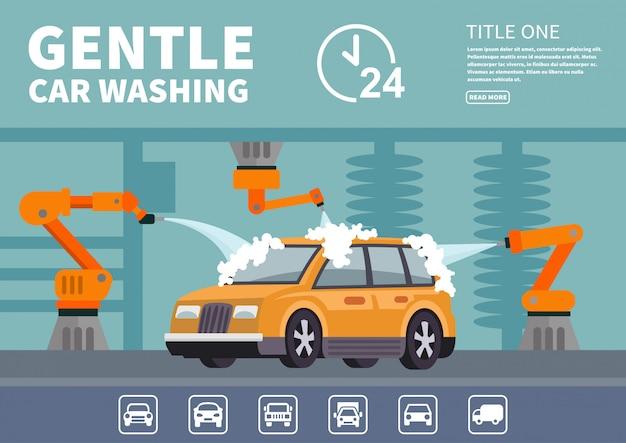Lavagem de carro gentil de infográficos Vetor Premium