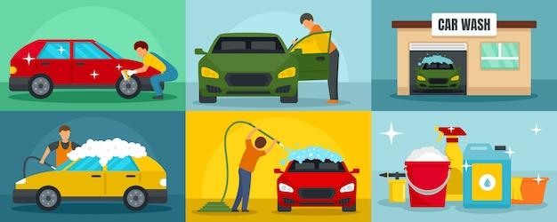 Lavagem de carros limpeza banner conjunto Vetor Premium