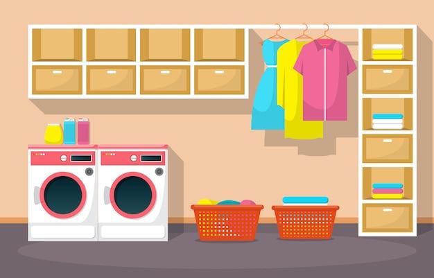 Lavandaria roupas, máquina de lavar roupa, utensílios para lavar roupa interior moderno Vetor Premium