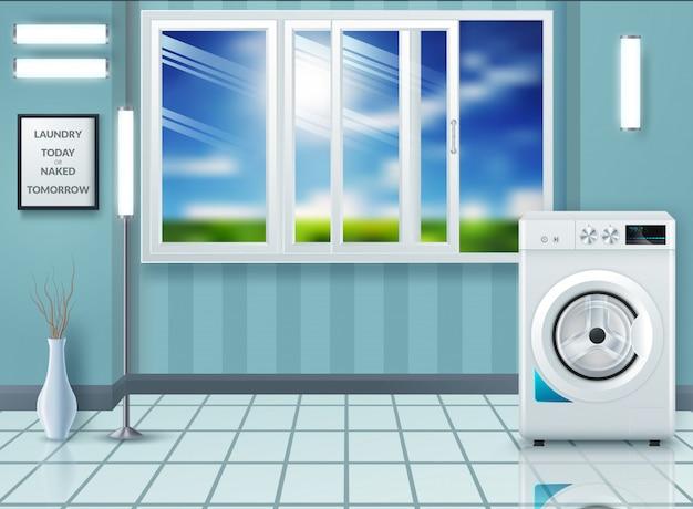 Lavanderia com máquina de lavar e secar roupa Vetor Premium