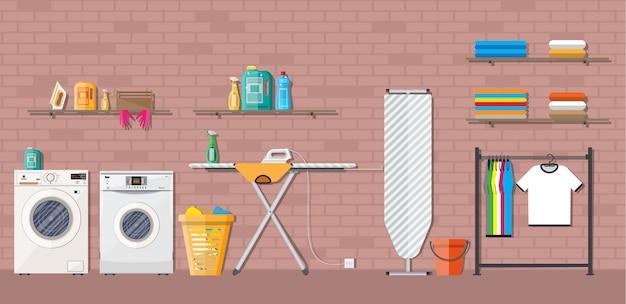 Lavanderia com máquina de lavar Vetor Premium