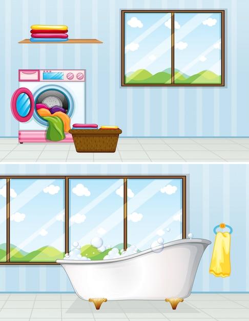 Lavanderia e banheiro Vetor Premium